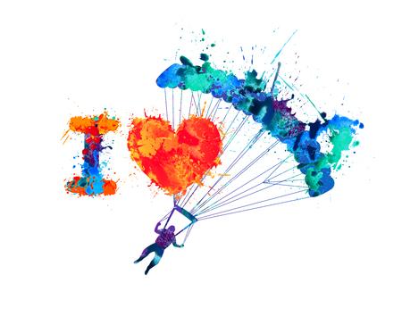 skydiving: I love skydiving. Vector watercolor splash paint sign
