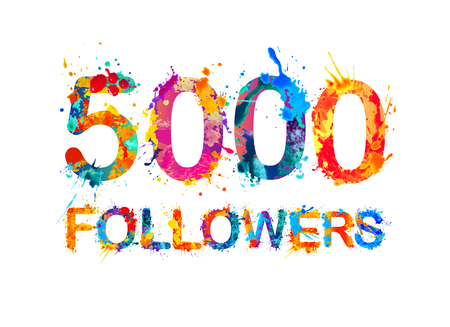 5000 (five thousand) followers. Splash paint inscription Ilustração