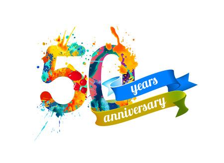 50 (fifty) years anniversary. Vector watercolor splash paint