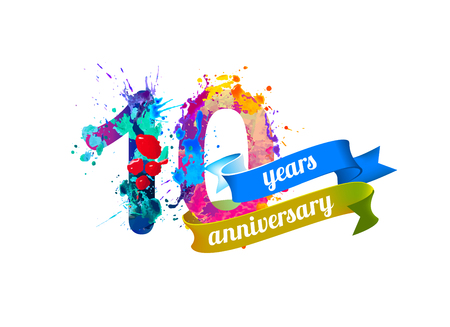 10 (ten) years anniversary. Vector watercolor splash paint
