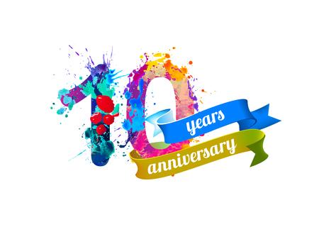 ten: 10 (ten) years anniversary. Vector watercolor splash paint