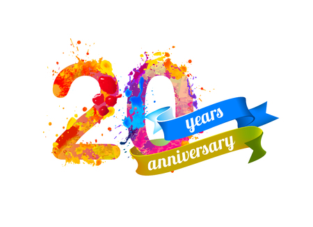20 (twenty) years anniversary. Vector watercolor splash paint