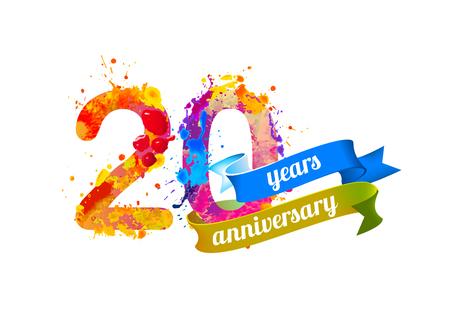 20 (twenty) years anniversary. Vector watercolor splash paint