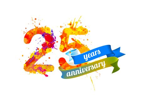 25 (twenty five) years anniversary. Vector watercolor splash paint