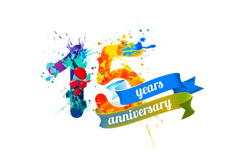 fifteen: 15 (fifteen) years anniversary. Vector watercolor splash paint