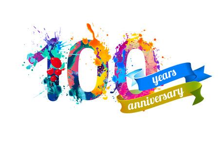 100 (one hundred) years anniversary. Vector watercolor splash paint Illustration