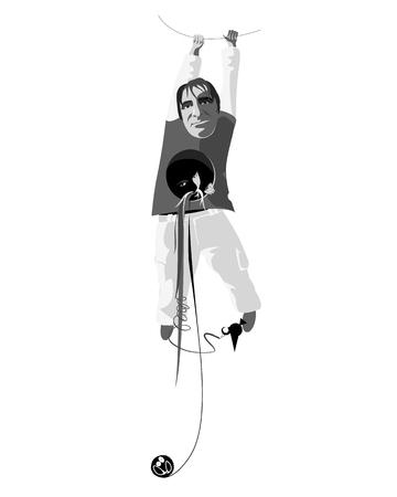 dwarf: hanging dwarf - vector illustration for t-shirt print Illustration