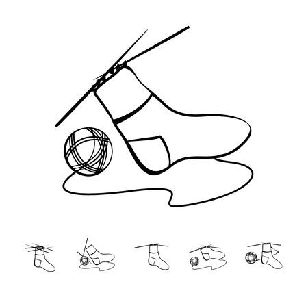 hosiery: Warm wool sock sign. Knitting vector icon Illustration