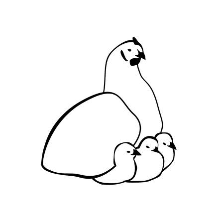 sitter: Hen sitter with chicken. Vector linear icon