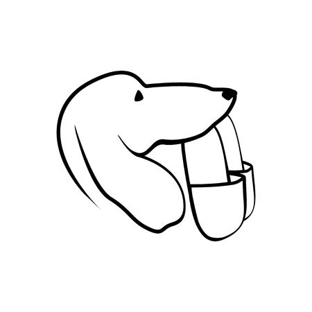 brings: Dog brings slippers. Vector flat linear illustration