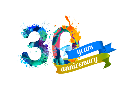 30 (thirty) years anniversary. Vector watercolor splash paint