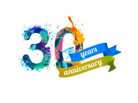 30 (thirty) years anniversary. Vector watercolor splash paint