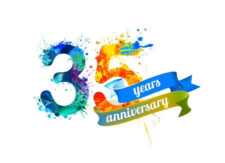 thirty five: 35 (thirty five) years anniversary. Vector watercolor splash paint