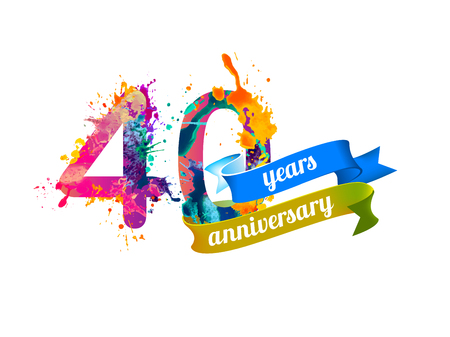 forty: 40 (forty) years anniversary. Vector watercolor splash paint