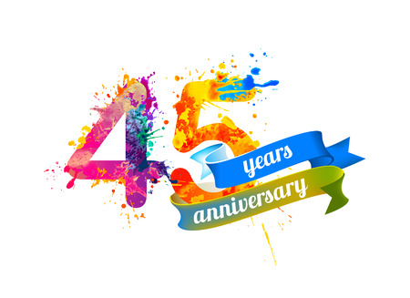 45th: 45 (forty five) years anniversary. Vector watercolor splash paint