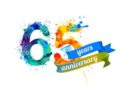 65th: 65 (sixty five) years anniversary. Vector watercolor splash paint