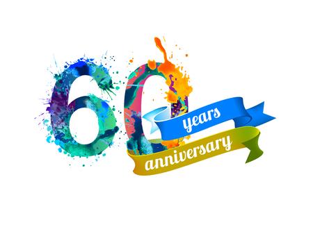 60 (sixty) years anniversary. Vector watercolor splash paint Stock Illustratie