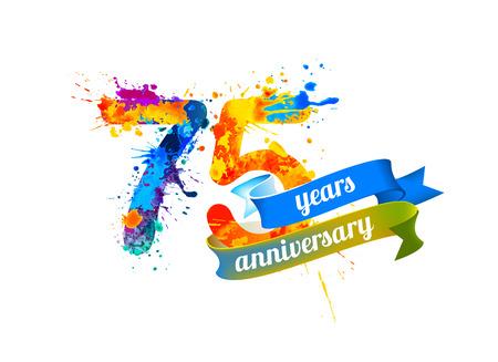 five years': 75 (seventy five) years anniversary. Vector watercolor splash paint Illustration