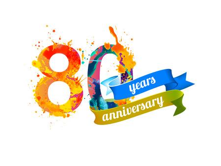 80th: 80 (eighty) years anniversary. Vector watercolor splash paint