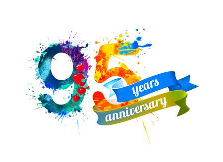 ninety: 95 (ninety five) years anniversary. Vector watercolor splash paint