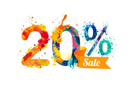 20 (20) 퍼센트 세일. 수채화 물감 벡터 스플래시 페인트