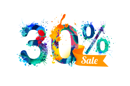 thirty: 30 (thirty) percents sale. Watercolor vector splash paint
