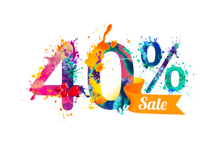 forty: 40 (forty) percents sale. Watercolor vector splash paint