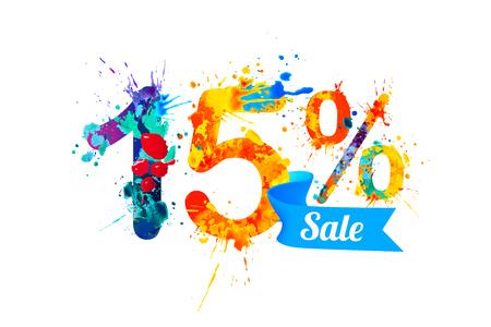 fifteen: fifteen (15) percents sale. Watercolor vector splash paint Illustration