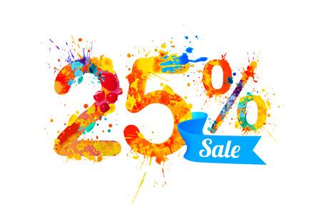 twenty five: twenty five (25) percents sale. Watercolor vector splash paint