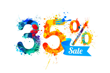 thirty five: thirty five (35) percents sale.  Vector splash paint Illustration