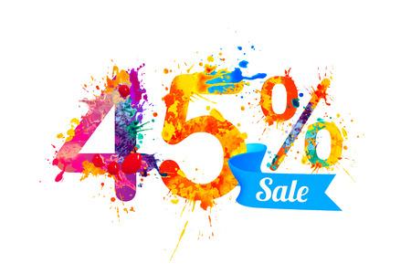 forty: forty five (45) percents sale.  Vector splash paint