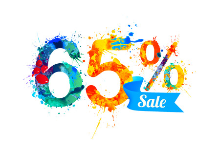 sixty: sixty five (65) percents sale. Vector splash paint Illustration