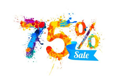 trade off: seventy five (75) percents sale. Vector splash paint Illustration