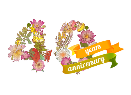 forty: forty (40) years anniversary sign of floral digits