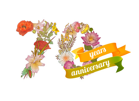 70 years: seventy (70) years anniversary sign of floral digits