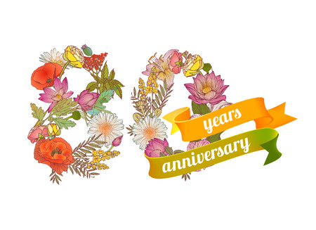 80th: eighty (80) years anniversary sign of floral digits Illustration