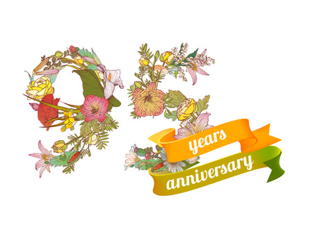 ninety: ninety five(95) years anniversary sign of floral digits