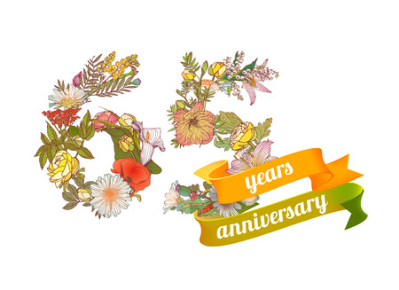 sixty five (65) years anniversary sign of floral digits Illustration