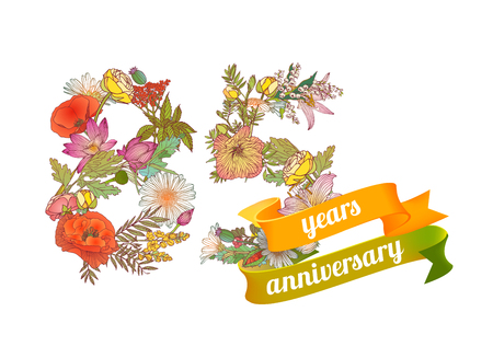 eighty five (85) years anniversary sign of floral digits