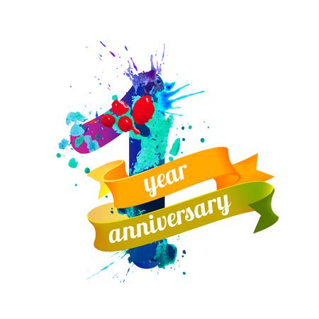 1 year anniversary: One (1) year anniversary. Vector watercolor splash paint