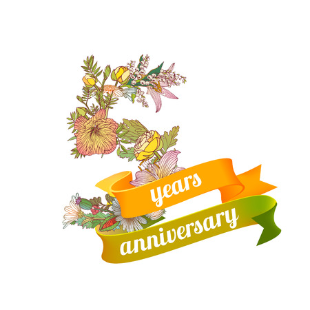 Five (5) years anniversary sign of floral digits