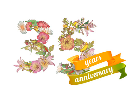 thirty five (35) years anniversary sign of floral digits