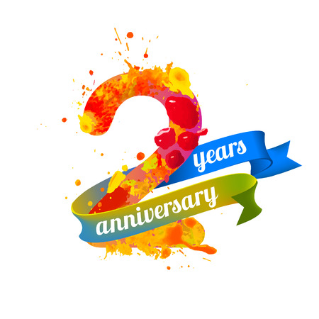 2 years: two (2) years anniversary. Vector watercolor splash paint Illustration