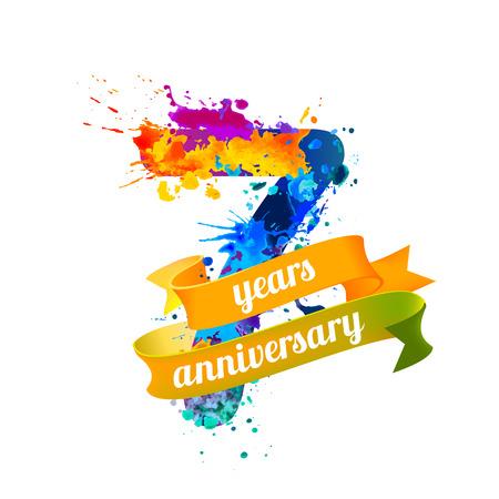 seven (7) years anniversary. Vector watercolor splash paint