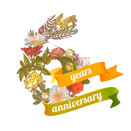 Six (6) years anniversary sign of floral digits
