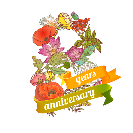 eight (8) years anniversary sign of floral digits Illustration