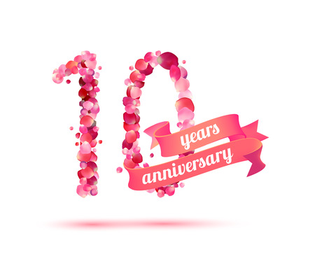 10 years: Ten (10) years anniversary sign of pink rose petals