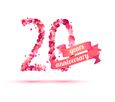 twenty (20) years anniversary sign of pink rose petals