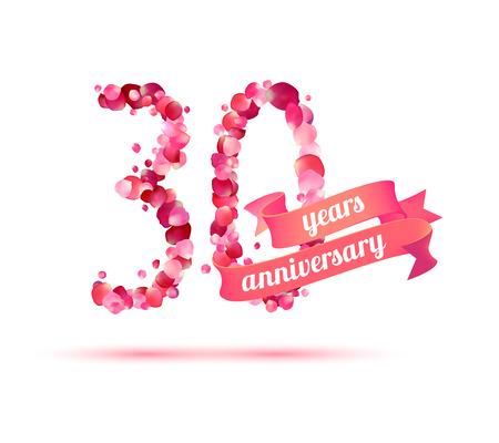 pink rose petals: thirty (30) years anniversary sign of pink rose petals