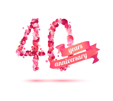pink rose petals: forty (40) years anniversary sign of pink rose petals